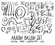 Reeks van van de de illustratiehand getrokken Schets van de pijlborstel de lijnep Stock Afbeelding
