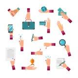 Reeks van de de illustratieinzameling van de bedrijfsvrouwenhand de vector Vrouwelijke CEO met handdruk, aktentas, bol, geld, kaa vector illustratie