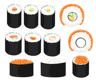 Reeks van de inzamelings de Kleurrijke sushi van het sushibroodje verschillende typeseetstokjes en kommen Stock Afbeeldingen