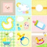 Reeks van de Kaart van de Aankomst van de Baby Royalty-vrije Stock Afbeeldingen