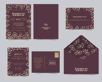 Reeks van de Kaartmalplaatje van de Huwelijksuitnodiging Royalty-vrije Stock Foto's