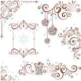 Reeks van de Kerstmis de Overladen Werveling Royalty-vrije Stock Afbeeldingen
