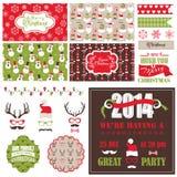 Reeks van de Kerstmis Retro Partij Stock Foto's