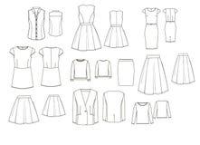 Reeks van de kleren de technische drawig van de vrouw Stock Afbeeldingen