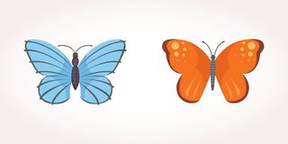 Reeks van de kleurrijke Illustratie van het Vlinder Vectorontwerp de zomerinsect royalty-vrije illustratie
