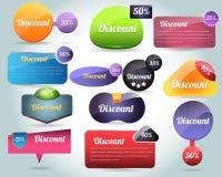 Reeks van de kleurrijke vectorVorm van de Banner van het Pictogram Stock Illustratie