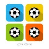 Reeks van 4 de kleurrijke vierkante bal van het beeldverhaalvoetbal stock illustratie