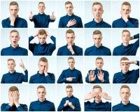 Reeks van de knappe emotionele geïsoleerde mens Royalty-vrije Stock Fotografie