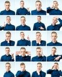 Reeks van de knappe emotionele geïsoleerde mens Stock Fotografie