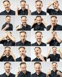 Reeks van de knappe emotionele mens Stock Foto's
