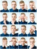 Reeks van de knappe emotionele mens Stock Afbeelding