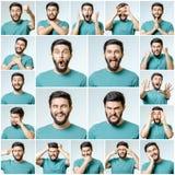 Reeks van de knappe emotionele mens Stock Foto