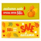 Reeks van de kortingsbanner van de de Herfstverkoop met pompoen en de herfstbladeren royalty-vrije stock afbeeldingen