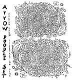 Reeks van van de de krabbelschets van de Boomillustratie Hand getrokken de lijnep Stock Afbeelding