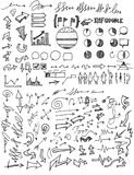 Reeks van van de de krabbelschets van de Boomillustratie Hand getrokken de lijnep Royalty-vrije Stock Afbeelding