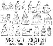 Reeks van van de de krabbelschets van de Zandkasteelillustratie de Hand getrokken lijn ve Stock Afbeeldingen