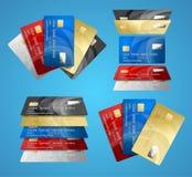Reeks van de krediet de Plastic Kaart Vector royalty-vrije illustratie