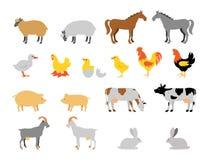 Reeks van de landbouwbedrijf de dierlijke inzameling Vlak stijlkarakter Stock Foto