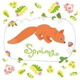 Reeks van de lentebloemen en bladeren en leuke vos Royalty-vrije Stock Afbeeldingen