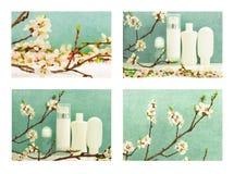 Reeks van de lentesamenstelling met lichaamsverzorgingproducten en de lenteblo royalty-vrije stock foto's