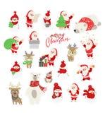 Reeks van de leuke illustratie van het beeldverhaalkarakter voor Kerstmis en nieuwe jaarviering De winter bosdieren in een sjaal  vector illustratie
