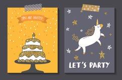 Reeks van de leuke ontwerpsjabloon van de verjaardagskaart stock illustratie