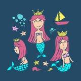 Reeks van de meermin de hand getrokken leuke tekening De stijl vectorillustratie van de zomerkinderen royalty-vrije illustratie
