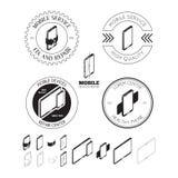 Reeks van de mobiele emblemen van de reparatiedienst, etiketten, kentekens en ontwerp Gr Royalty-vrije Stock Afbeelding