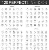 reeks van 120 de moderne dunne lijnpictogrammen bakkerij, zeevruchten, vruchten en groenten, dranken Stock Afbeeldingen