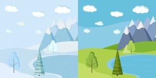 Reeks van de mooie Kerstmiswinter en groen de zomer of de lentelandschap royalty-vrije illustratie