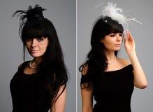 Reeks van de mooie vrouw met elegante bonnet. royalty-vrije stock afbeelding