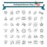 Reeks van 42 van de de Onafhankelijkheidsdag van de V.S. de lijnpictogrammen geschikt voor Web, infographics en apps royalty-vrije illustratie