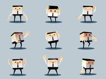 Reeks van de ongelukkige bureau en bedrijfsmens Stock Afbeeldingen