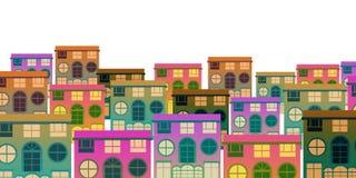 Reeks van de opeengehoopte stijl van de gebouwen kleine stad vector illustratie