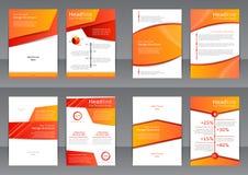 Reeks van de oranje en witte vliegers, de dekking en het rapport met plaats voor tekst Stock Foto's