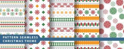 Reeks van de patroon de naadloze sneeuwvlok Stock Foto's