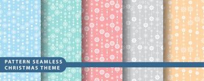 Reeks van de patroon de naadloze sneeuwvlok Stock Afbeelding