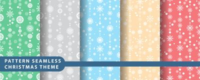 Reeks van de patroon de naadloze sneeuwvlok Royalty-vrije Stock Foto's