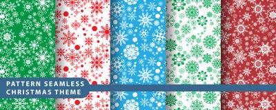 Reeks van de patroon de naadloze sneeuwvlok Stock Fotografie