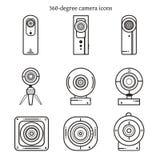 Reeks van de pictogrammen van de 360 gradencamera in dun lijnontwerp Stock Afbeeldingen