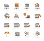 Reeks van de Pictogrammen van // van het netwerk & van de Server de Grafiet Royalty-vrije Stock Afbeeldingen