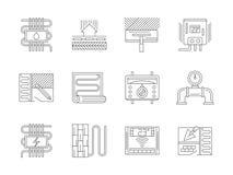 Reeks van de pictogrammen vloerverwarmings vlakke lijn Royalty-vrije Stock Foto