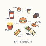 Reeks van de pictogrammenhamburger van de ongezonde kostcontour met hotdog Royalty-vrije Stock Foto's