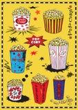 Reeks van de popcorn van de handtekening op gele achtergrond stock illustratie