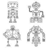 Reeks van de robots de lineaire stijl Stock Foto