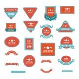 Reeks van de Rode en Blauwe Kleur van het Etiketontwerp Stock Afbeeldingen