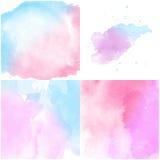 Reeks van de roze blauwe Abstracte achtergrond van de waterkleur Stock Fotografie