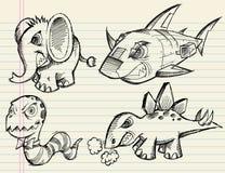 Reeks van de Schets van de Krabbel van het notitieboekje de Vector Dierlijke Stock Afbeeldingen