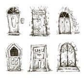 Reeks van de schets van krabbeldeuren, vectoreps 10 Royalty-vrije Stock Foto's
