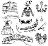 Reeks van de schets van Venetië Royalty-vrije Stock Foto